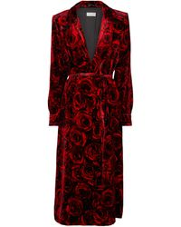Dries Van Noten Floral Velvet Midi Dress - Red