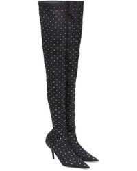 Balenciaga Overknee-Stiefel Knife mit Kristallen - Schwarz