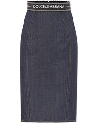 Dolce & Gabbana High-rise Denim Pencil Skirt - Blue
