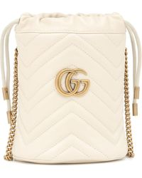 Gucci Mini Gg Marmont 2.0 Leather Bucket Bag - White