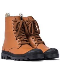 Loewe Leather Combat Boots - Brown