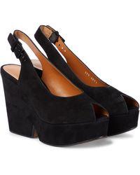 Clergerie Dylan Suede Platform Sandals - Black