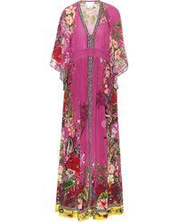 Camilla Vestido largo de seda estampado - Morado