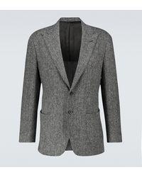 Thom Sweeney Harris Tweed Herringbone Blazer - Grey