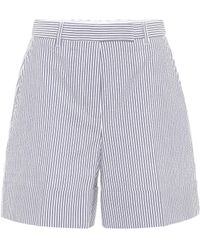 Thom Browne High-rise Striped Cotton Shorts - Blue
