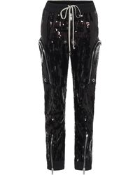 Rick Owens Bauhaus Sequined Cargo Trousers - Black
