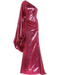Halpern Robe longue asymétrique en lamé - Rouge