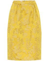 Dries Van Noten Jacquard Midi Skirt - Yellow