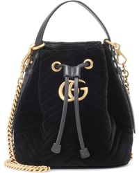 Lyst - Gucci GG Marmont Leather Bucket Bag in Black afae73aa2dee5