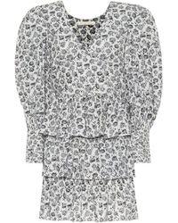 LoveShackFancy Paris Floral Cotton Minidress - Gray