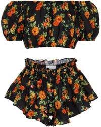 Caroline Constas Exclusive To Mytheresa – Floral Linen Bandana, Crop Top And Shorts Set - Black