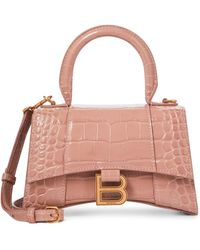 Balenciaga Hourglass Xs Croc-effect Leather Tote - Natural