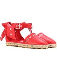 Alexander McQueen Embellished Leather Espadrilles - Red