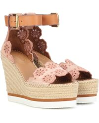 See By Chloé Glyn Suede Wedge Espadrille Sandals - Pink