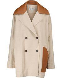Loewe Jacke aus Baumwolle und Leinen - Braun