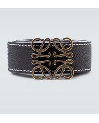 Loewe Anagram Reversible Leather Belt - Black