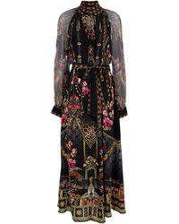 Camilla Embellished Printed Silk Midi Dress - Black