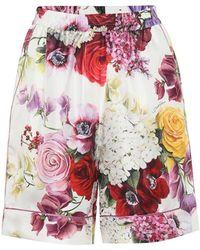 Dolce & Gabbana Shorts a stampa in seta - Bianco