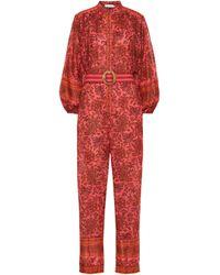 Zimmermann Edie Floral Cotton Jumpsuit - Red
