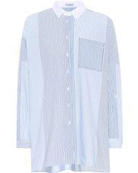 Brunello Cucinelli - Stripe-blocked Cotton Shirt - Lyst