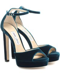Jimmy Choo Pattie 130 Velvet Plateau Sandals - Blue