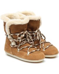 Moon Boot Dark Side Shearling And Suede Boots - Brown