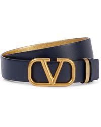 Valentino Garavani Wendbarer Gürtel VLOGO aus Leder - Blau