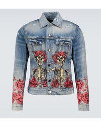 Amiri Giacca di jeans con stampa - Blu