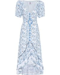 Gül Hürgel Floral Linen Dress - Blue