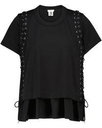 Noir Kei Ninomiya Camiseta de punto fino de algodón - Negro