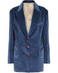 Blazé Milano Einreihiger Blazer aus Cord - Blau