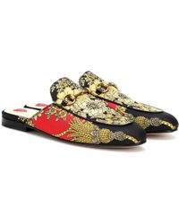 Gucci - Princetown Canvas Slippers - Lyst