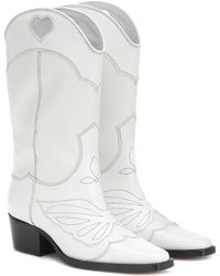 Ganni Exclusive To Mytheresa – Leather Cowboy Boots - White