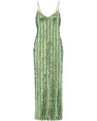 Galvan London Slipdress Stargaze mit Pailletten - Grün