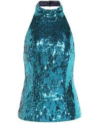 Galvan London Top à sequins - Bleu