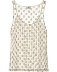 Etro Paisley Silk Chiffon Tank Top - White