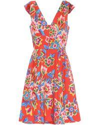 Carolina Herrera Miniabito a stampa floreale in cotone - Rosso