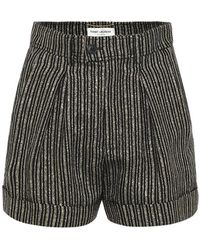 Saint Laurent Shorts a righe in lino - Nero