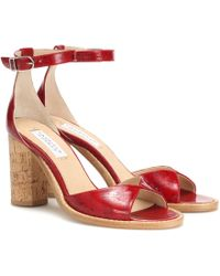 Gabriela Hearst Adi Leather And Cork Sandals - Red