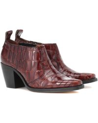 Ganni - Nola Embossed Leather Ankle Boots - Lyst