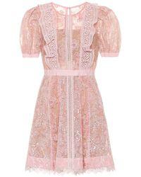 Self-Portrait Sequin Lace Mini Dress - Pink