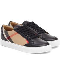 Burberry Sneakers Salmond in pelle e tartan - Nero