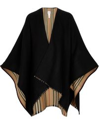 Burberry Poncho Icon Stripe en laine - Noir