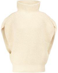 Isabel Marant Ivyna Ribbed-knit Wool-blend Turtleneck Sweater - White