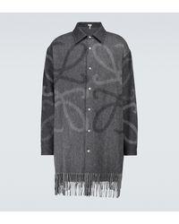 Loewe Hemdjacke aus Wolle und Kaschmir - Grau