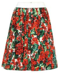 Dolce & Gabbana Gonna a stampa floreale in cotone - Rosso