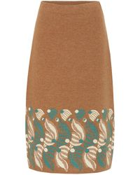 Dries Van Noten Intarsia Wool And Alpaca-blend Skirt - Brown