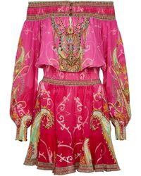 Camilla Printed Off-shoulder Silk Minidress - Pink