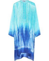 Juliet Dunn Cafetan brodé en soie - Bleu
