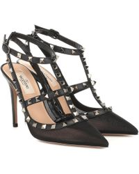 Valentino Rockstud Mesh And Leather Court Shoes - Black